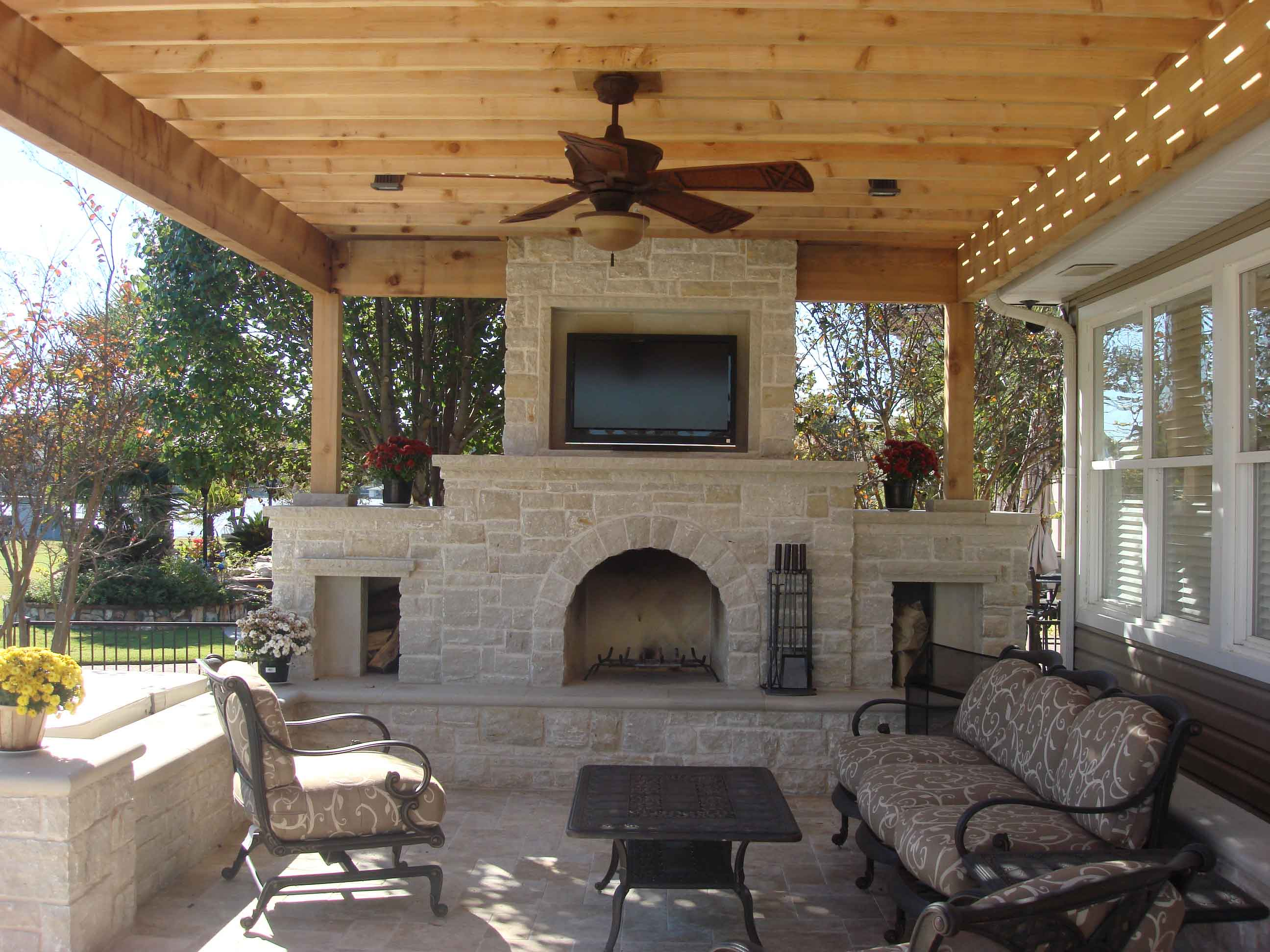 Outdoor Living Areas Cabana Fireplace Kitchen