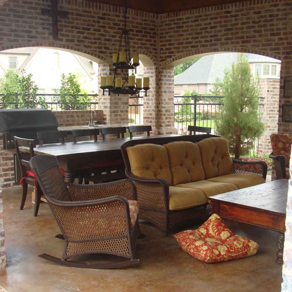 Outdoor Living Areas Cabana Fireplace Kitchen | Southern Land Design